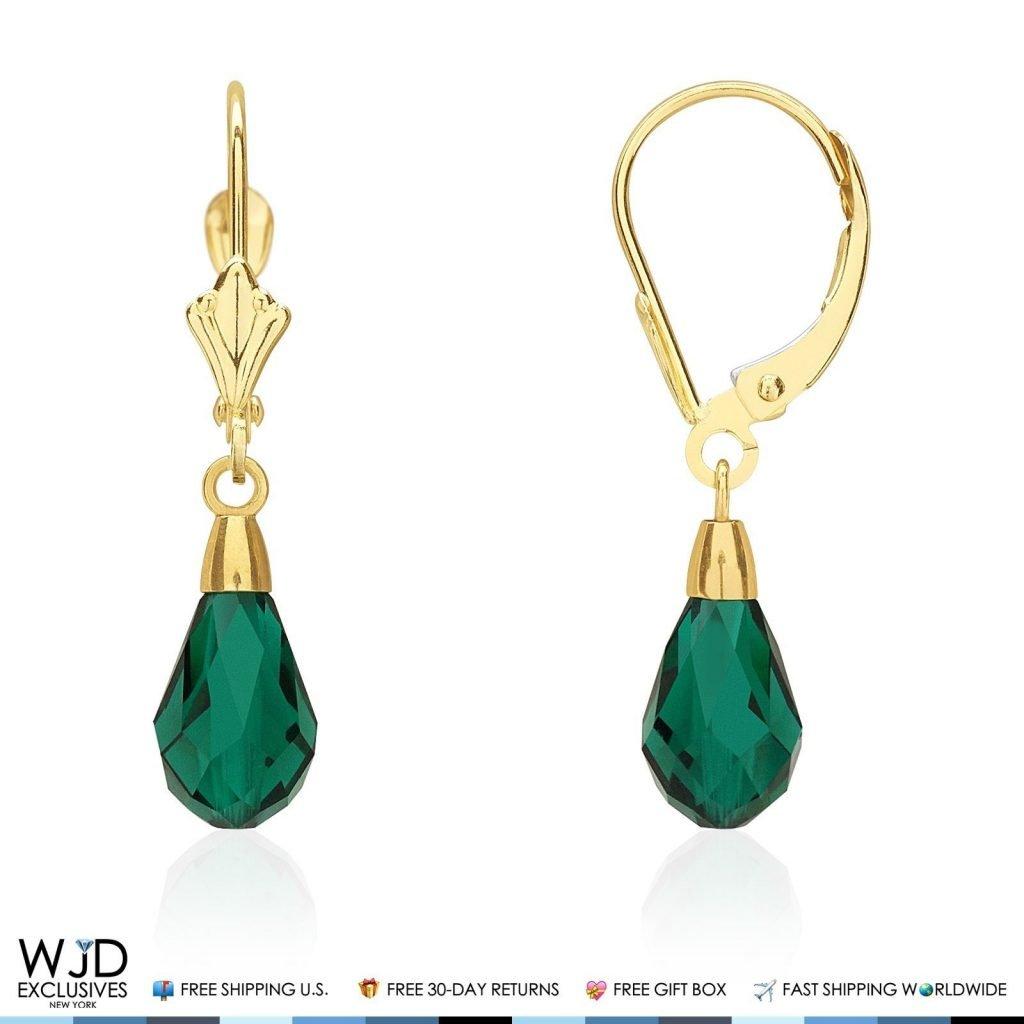 14K Yellow Gold Teardrop Multicolor CZ Crystal Dangle Leverback Earrings Black WJD Exclusives L82-L99