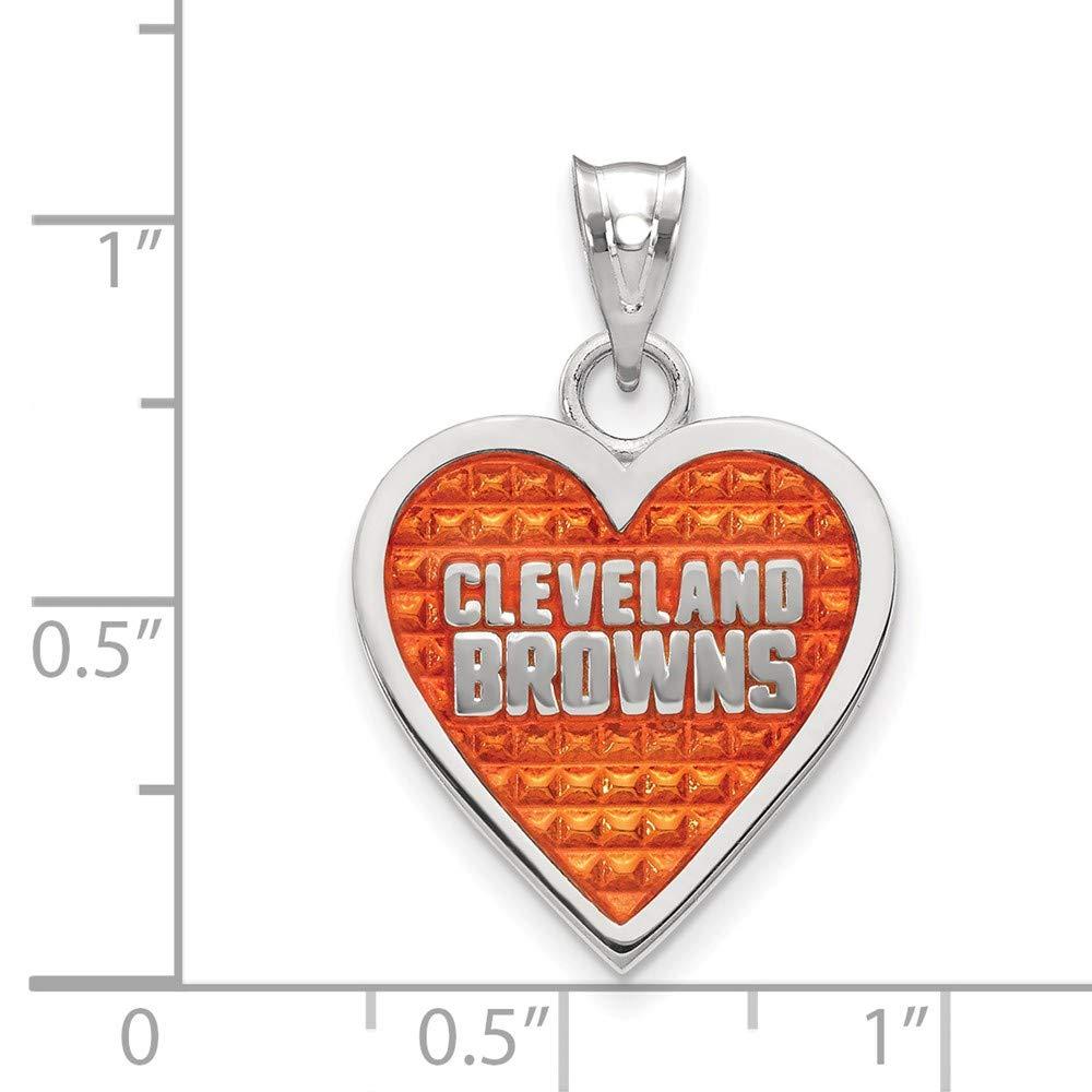 NFL Sterling Silver Cleveland Browns Enameled Heart Pendant