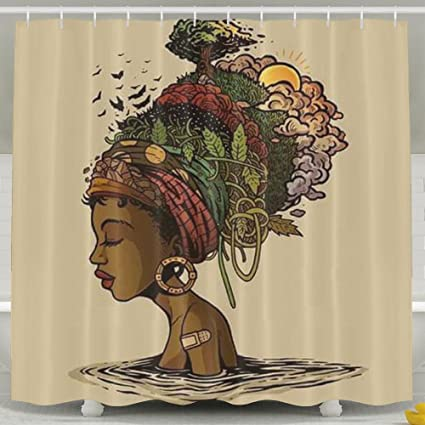 Amazon.com: BESTSC Mildew Resistant White Shower Curtains - African ...
