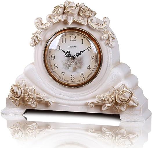 Clock LANNA SHOP- Retro Mantel Mantle Rhythm Quartz living room desk shelf Decoration Color White