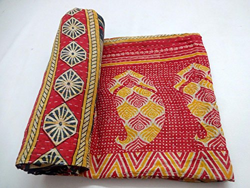 Vintage Kantha Quilt Indian Handmade Cotton Bedspread Saree Throw Bedding Cover