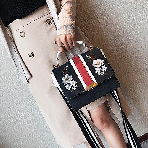 Messenger Sacs pour Sac Noir cuir femmes en main floral à épaule Dxlta femmes brodé vftPxww