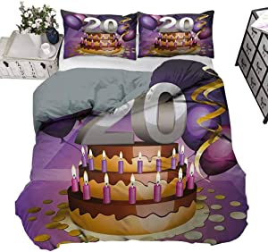 Duvet Cover Set 20th Birthday Bed Quilt Cover Decor Cartoon Style Illustraion of a Birthday Cake Chocolate Frosting and Candles Decorative 3 Piece Bedding Set with 2 Pillow Shams, Queen Size