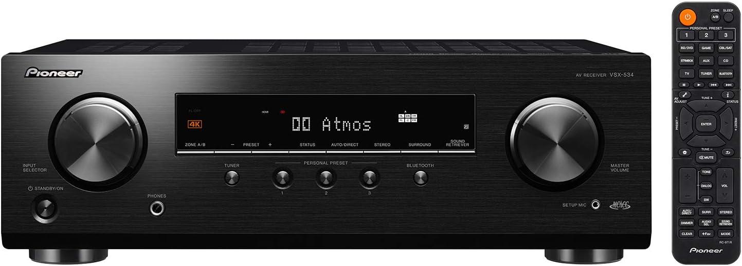 Pioneer VSX-534 5.2-Ch Avr, 4K, HDR10, Dolby Vision/Atmos/Virtual & Bluetooth
