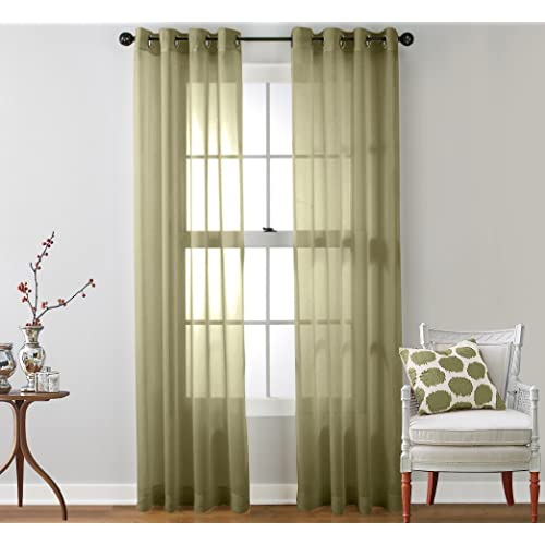 Genial ME 2 Piece Semi Sheer Voile Window Curtain Grommet Panels For Bedroom (
