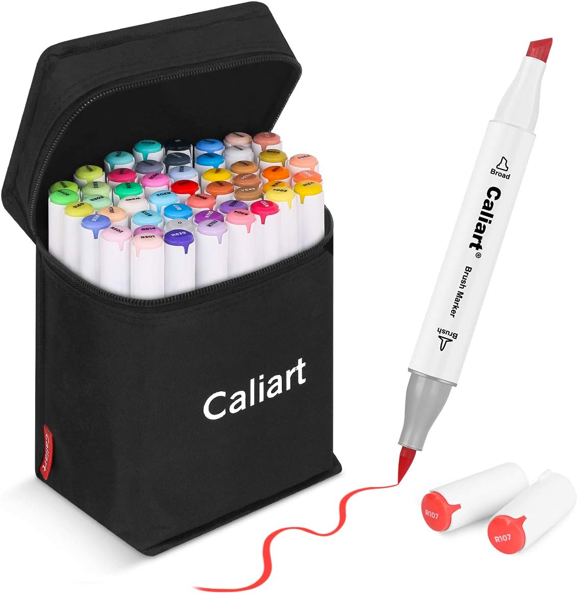 51 Colors Alcohol Brush Markers, Caliart Dual Tip (Brush & Chisel) Art Markers Permanent Sketch Markers for Kids, Adults Coloring and Artist Illustration, Bonus 1 Colorless Alcohol Marker Blender