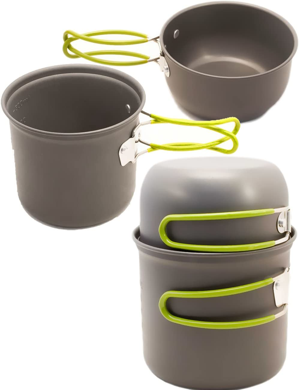 OUTDOOR SAXX® - Batería de cocina de viaje de 3 piezas, sartén, fogata, parrilla, hornillo, con bolsa de transporte, 800 ml, 3 piezas.