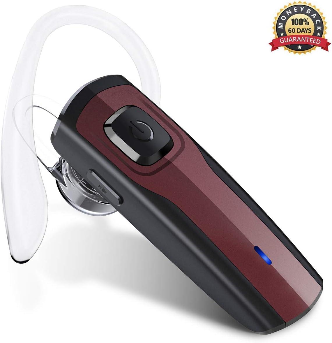 Auriculares Inalámbricos Auricular Bluetooth Telefono Manos Libres Bluetooth Headset con Micrófono para Negocios/ Trukers/ Conductor con Android iPhone