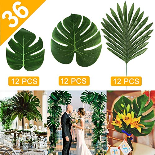 (AerWo 36pcs 3 Kinds Artificial Palm Leaves, Tropical Plant Faux Leaves Safari Leaves Hawaiian Luau Party Jungle Beach Theme Decorations for Table Decoration)