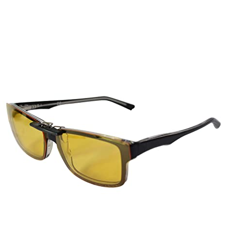 f4a41fed4f5cf Custom Polarized Clip On Sunglasses for Ray-Ban RB5245 (RX5245) 54-17-145(No  Frame) night vision Yellow - - Amazon.com