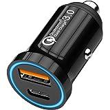 CHGeek USB C Auto Ladegerät, 12V/24V KFZ Ladegerät 36W Quick Charge 3.0 2-Port Auto Zigarettenanzünder Mini Adapter mit Power Delivery Schnellladung für Smart Phones und mehr - CH36