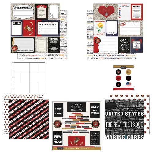 Scrapbook Customs Themed Paper and Stickers Scrapbook Kit, Marine Journal