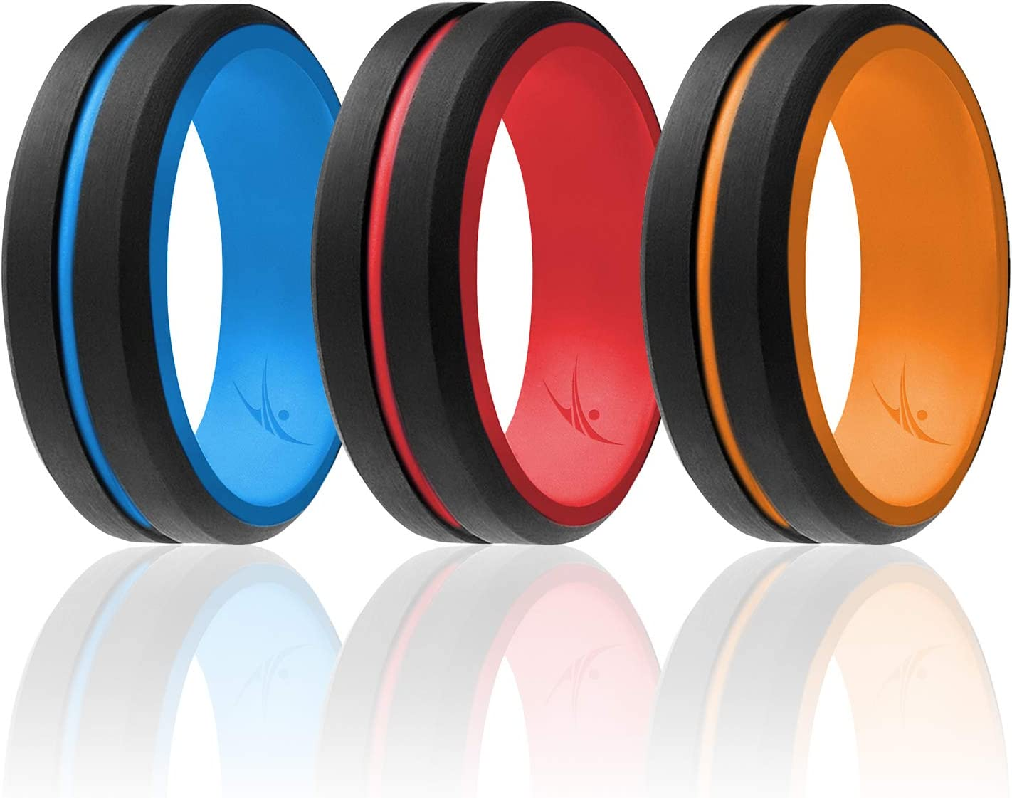 Metal /& Vivid Matte Colours ROQ Silicone Wedding Ring for Men 6//4//3 Packs or Single Ring Mens Silicone Rubber Wedding Bands Engraved Middle Line Beveled Edge Style