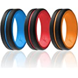 ROQ Silicone Wedding Ring for Men - 6/4/3 Packs or Single Ring Men's Silicone Rubber Wedding Bands, Engraved Middle Line Beve