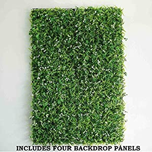 BalsaCircle 4 pcs Green Artificial Fern Leaves with White Mini Flowers UV Protected Wall Backdrop Panels Wedding Party Decorations Decorations Supplies 2
