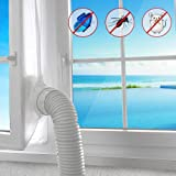 AGPTEK 400CM Flexible Window Seal for Portable Air Conditioner And Tumble Dryer,Air Exchange Guards With Zip and Adhesive Fastener,Universal Airlock Cloth for Mobile Air-Conditioning Unit