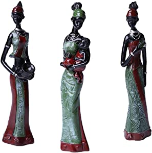 Gedengni TBW African Tribal Women Collectible Figurines for Mother's Gifts,Green,Pack of 3