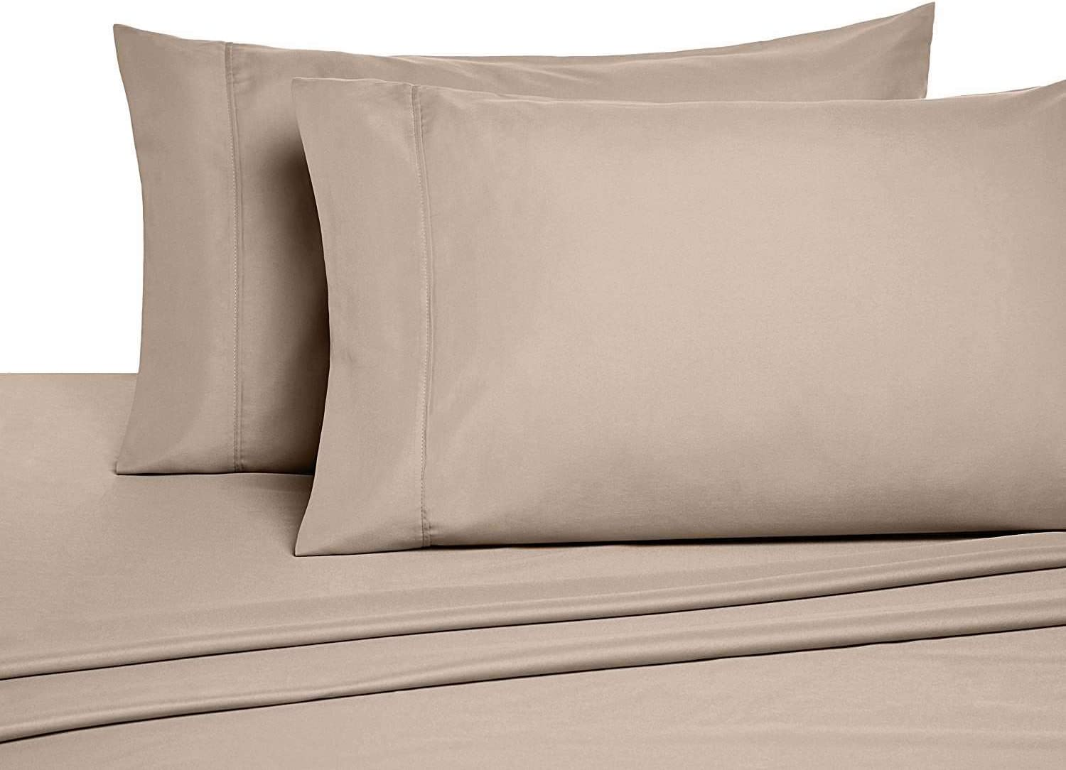 """4 PC Bedding Sheet Set 6-10"""" Deep Pocket 400 TC 100% Cotton for RV- Trucks, Campers, Airstream, Bus, Boat and motorhomes Easy to fit in RV-Mattress Taupe Solid (60 x 75) RV Short Queen"""