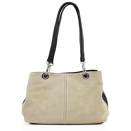 3198cb832606 Ladies Italian Real Suede Leather Tote Handbag Ladies Shoulder Strap Bag  (Beige)