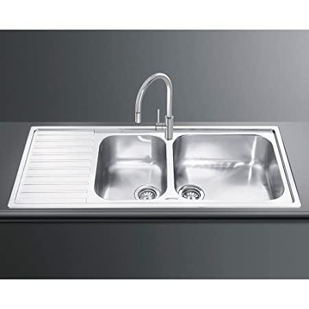 Smeg Alba LG116S-2 Inset Sink Double Bowl Single Left Hand Drainer ...