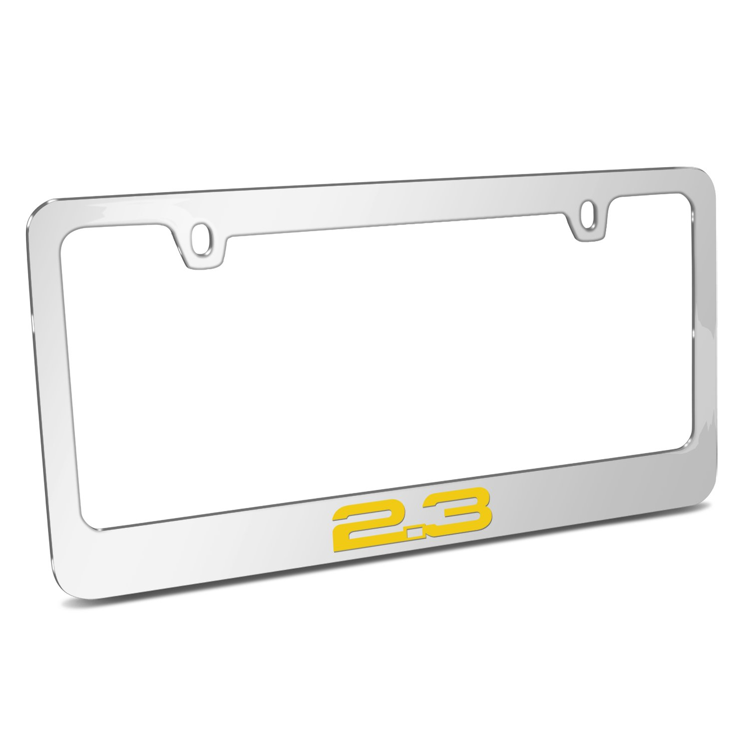 Ford Mustang 2.3L Eco-Boost in Yellow Mirror Chrome Metal License Plate Frame by iPick Image Official Licensed Product Made in the USA