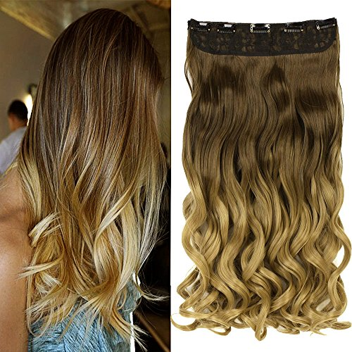 """Neverland Beauty 24""""Synthetic Curly Two Tone Ombre Hairpiece Hair Extensions 3/4 Full Head Clip 6 Colors from Neverland Beauty & Health"""