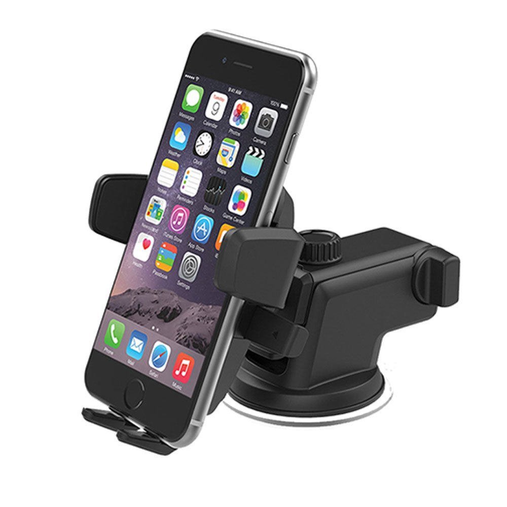 Car Phone Holder,One-Touch Design Dashboard & Windshield Car Phone Mount for iPhone 7/7Plus/6s/6Plus/5S, Galaxy S5/S6/S7/S8, Google Nexus, Huawei and More