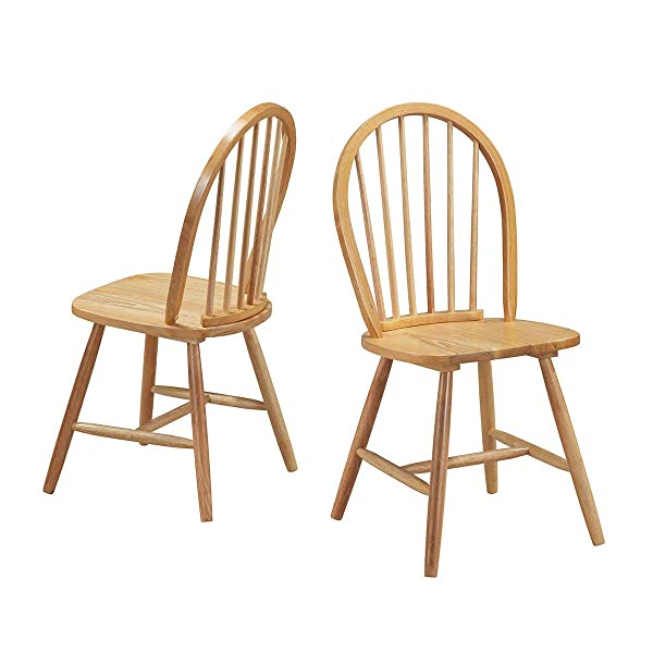 Giantex Wood Windsor Chair with Spindleback, Vintage Armless Dining Room Furniture, Natural (1)