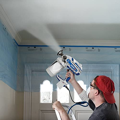 Use an airless paint sprayer indoors