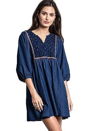 c76d257b63 Umgee Boho Chic Denim Peasant Tunic Dress at Amazon Women s Clothing ...