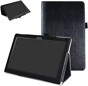 """Lenovo Tab 4-10 Inch Case,Mama Mouth PU Leather Folio 2-Folding Stand Cover with Stylus Holder for 10.1"""" Lenovo Tab 4-10 Inch ZA2J0007US Android 7.1 Tablet,Black"""