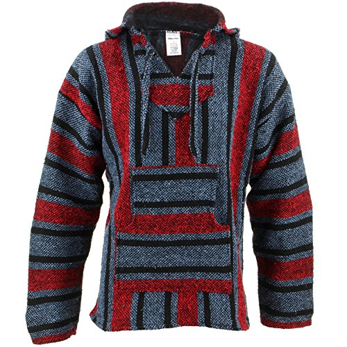 Siesta Mexican Baja Jerga Hooded Hippie Jumper
