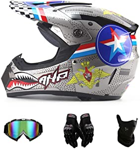 TIANDU Adult Motocross Helmet (4 Piece Set), Women's Open Face Motorcycle Helmet, ATV Youth Extreme Sports Protective Helmet Set, Goggles,Gloves, Silver Shark,S