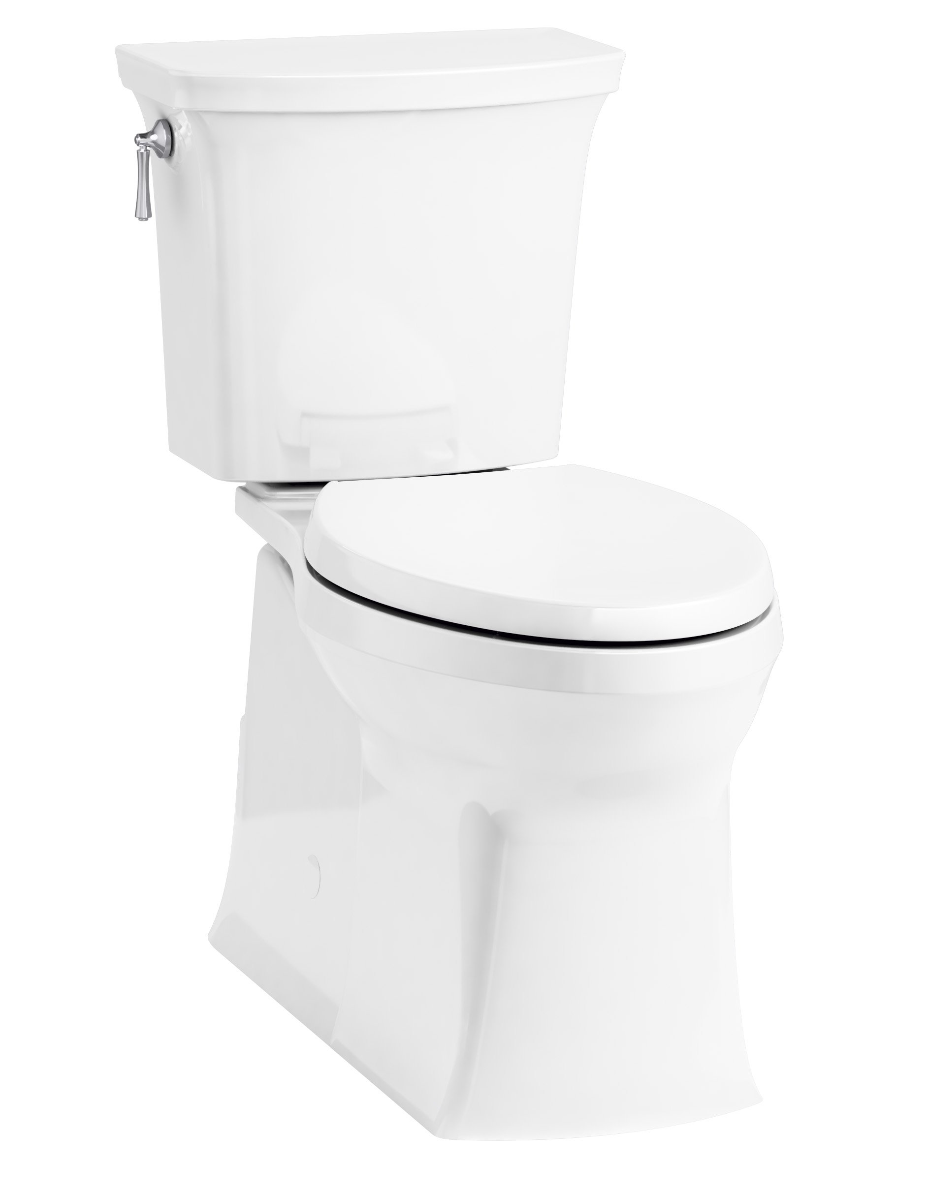 KOHLER 3814-0 Two (TM) Corbelle Comfort Height(R) elongated 1.28 gpf toilet with skirted trapway and Revolution 360 swirl flushing technology and left-hand trip lever (2 Piece), White by Kohler
