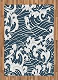 Japanese Wave Area Rug by Ambesonne, Hand Drawn Traditional Style Aquatic Doodle River Storm Retro Abstract, Flat Woven Accent Rug for Living Room Bedroom Dining Room, 5.2 x 7.5 FT, Slate Blue White