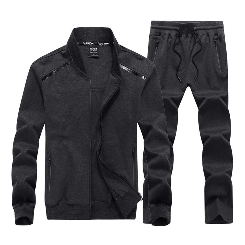 INVACHI Mens 2 Pieces Athletic Full Zip Sports Sets Jacket & Pants Active Fitness Jogging Sweat Tracksuit Set Grey by INVACHI
