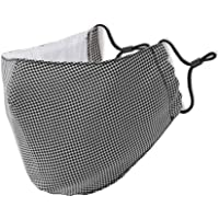 Dustproof Cotton Face Mouth Mask UV Protective Facial 2 Layers Cover Reusable Washable Black Plaid Masks for Women Men…