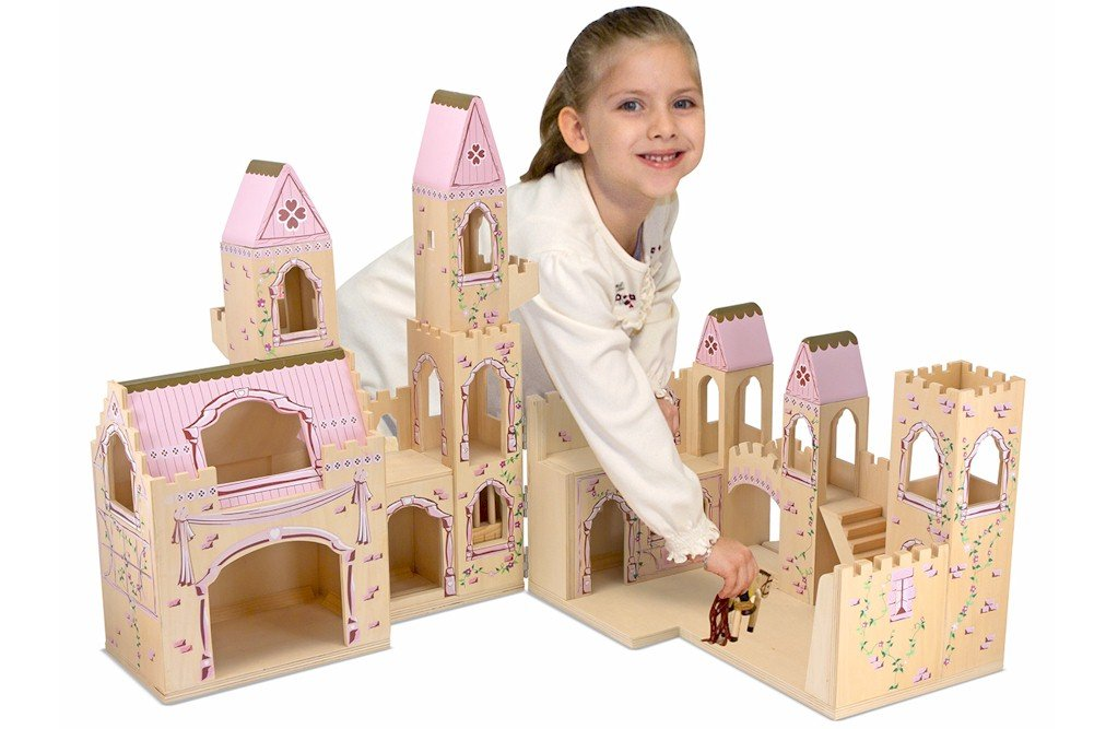 Melissa and doug wooden pink folding castle toy for girls