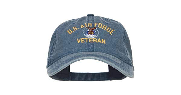 48100065c6f E4hats US Air Force Veteran Military Embroidered Washed Cap - Navy OSFM