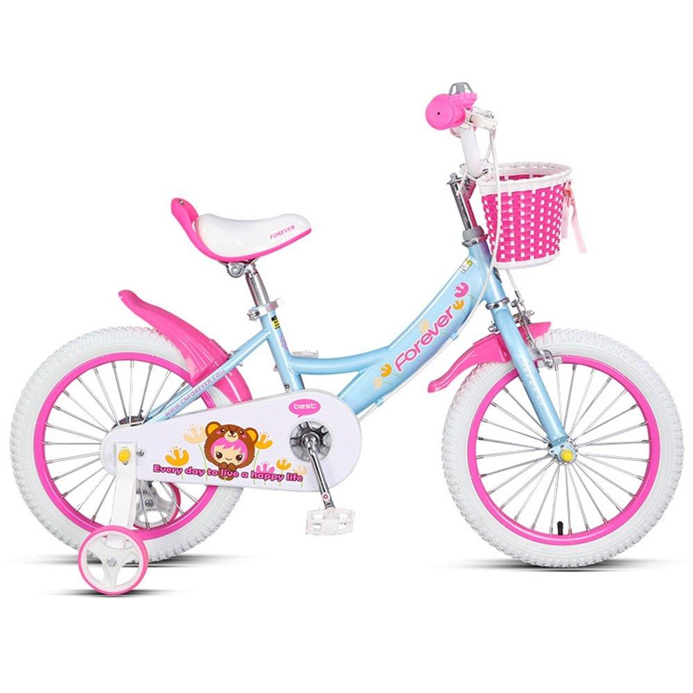 LVZAIXI 子供用自転車、14/16インチアルミ合金フレーム、男の子、女の子3-8歳のベビーカー B07CDQL51Q  青 14 inches