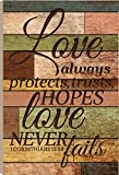 Love Hopes Love Never Fails 1 Corinthians 13:7 36 x 24 Wood Barn Board Wall Art Sign Plaque