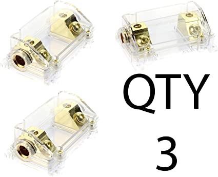 VOODOO Gold Fuse Holder 2//0 or 1//0 0 Gauge 1 Pack w// 45 Deg Angled Cover