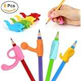 Pencil Grips, Firesara 2017 Original Pen Holder Claw Aid Correct Handwriting Posture in 4 Weeks 5 Cute Shapes Assorted Colors for Kids Kindergarten Adults Special Needs Righties or Lefties(8 PCS)