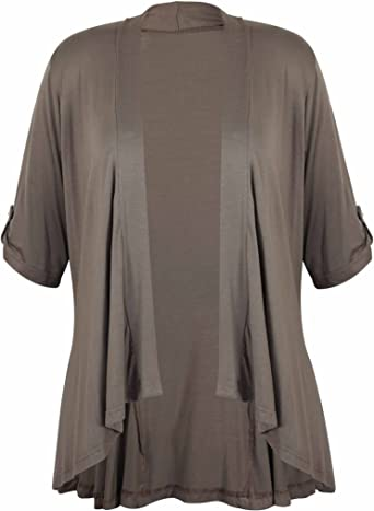Ladies Short Sleeve Plus Size Open Waterfall Cardigan Womens Stretch Top 8-26