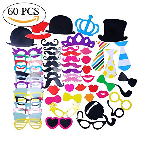 60 PCS Photo Booth Props DIY Props Accessories for Wedding Christmas Thanksgiving Birthdays Costumes with Mustache on A Stick, Hats, Glasses, Mouth, Bowler, - On Stick Glasses A