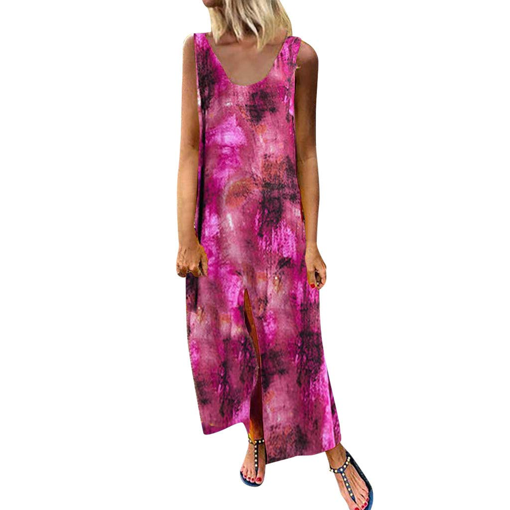 Peize Women O-Neck Sleeveless Tie Dye Print Casual Cotton Maxi Dress Low Asymmetric Party Midi Dresses T-Shirt Tunic Loose Dress by Peize