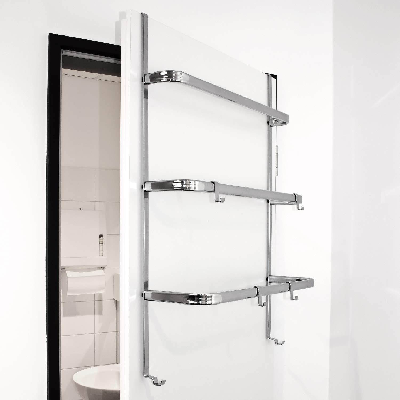 bremerman T/ür-H/ängeregal T/ür-Handtuchhalter mit 4 praktischen Haken Silber