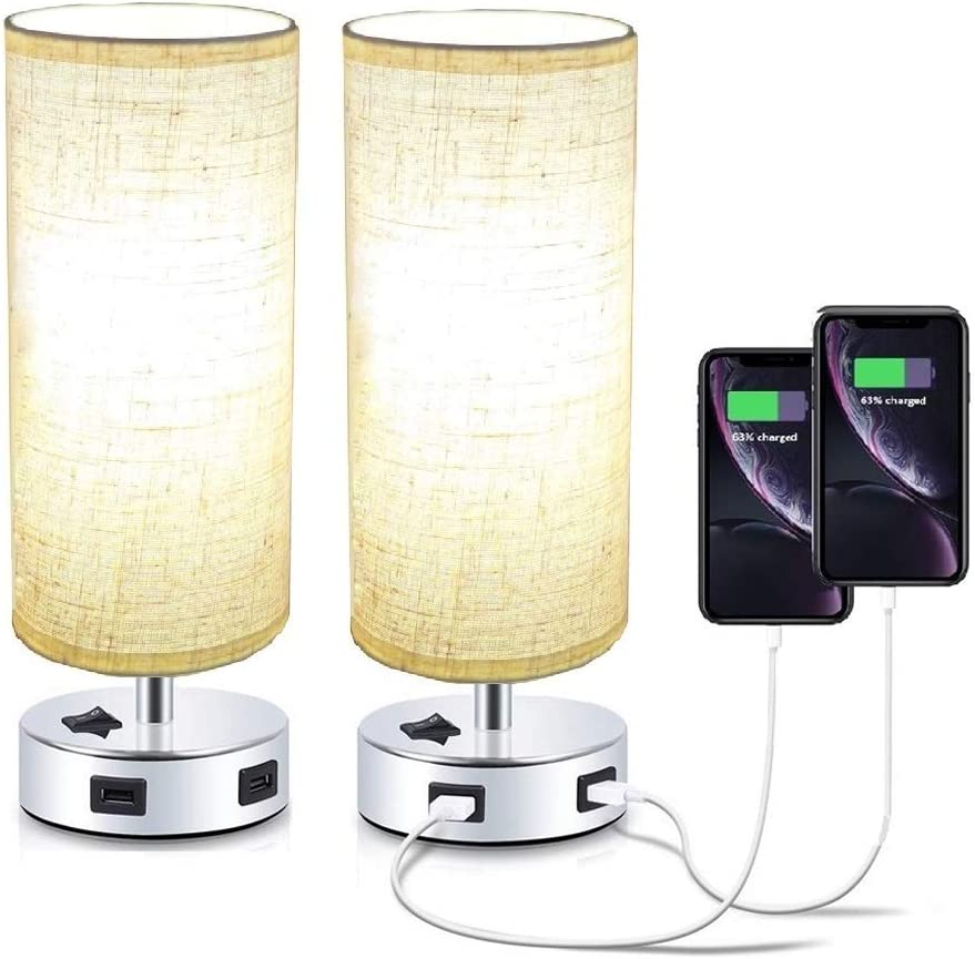 Pack of 2 Surpars House Fabric Table Lamp with Double USB Charging Port, On/Off Switch on Base,Bedside Lamp Nightstand Lamp