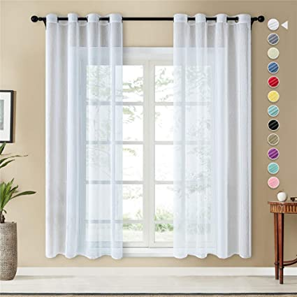 topfinel lot de 2 rideaux voilage blanc 140x240 cm a oeillets en lin imitation voilage fenetre transparent pour salon voilage grande largeur decor
