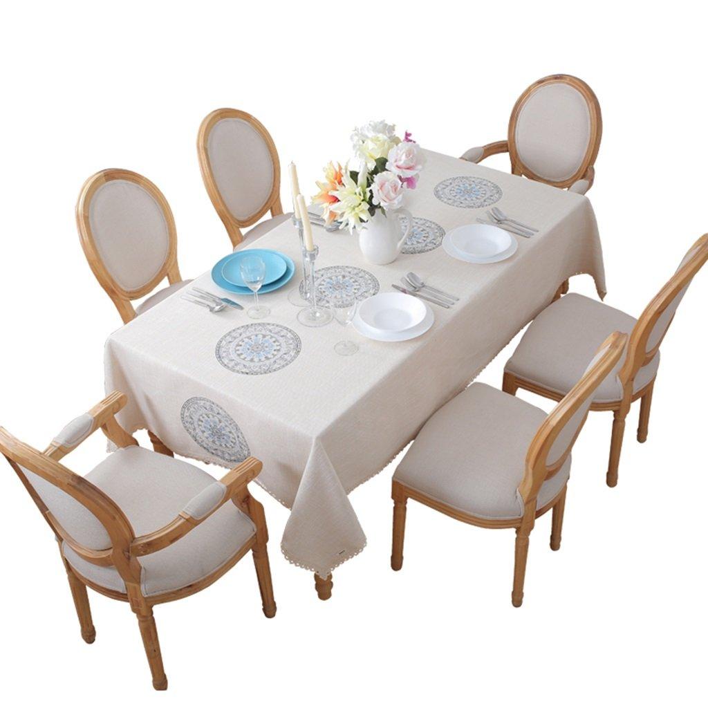 90150cm Nappe de broderie   Nappe en lin imitation lin   nappe de table à café (Taille   140  210cm)